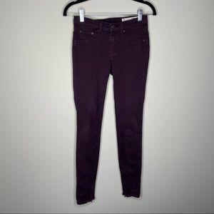 Rag & Bone Wine Legging Zipper Jeans Size 25